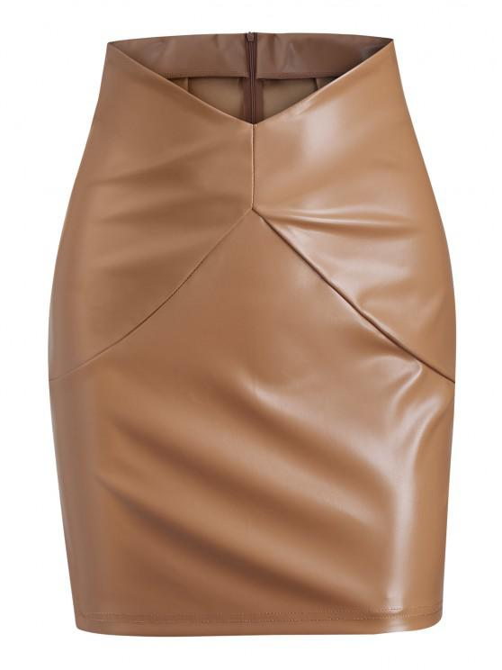 chic V-waist Faux Leather Mini Skirt - COFFEE S
