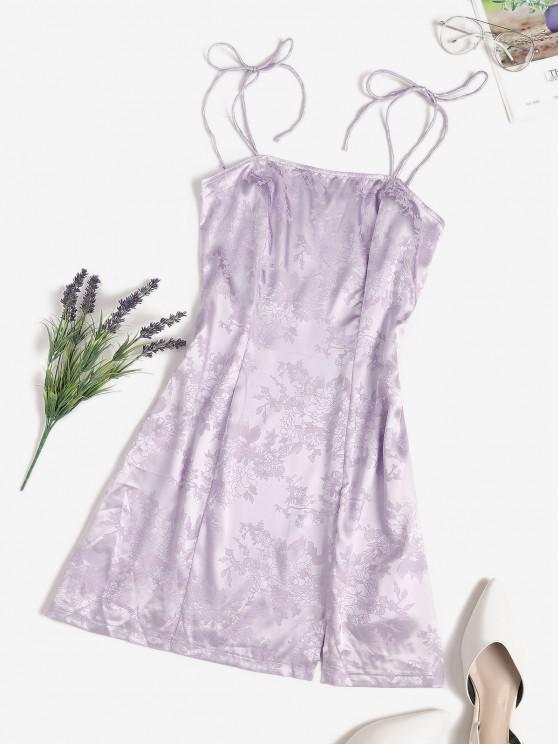 affordable Jacquard Satin Tie Shoulder Slit Cami Dress - LIGHT PURPLE S