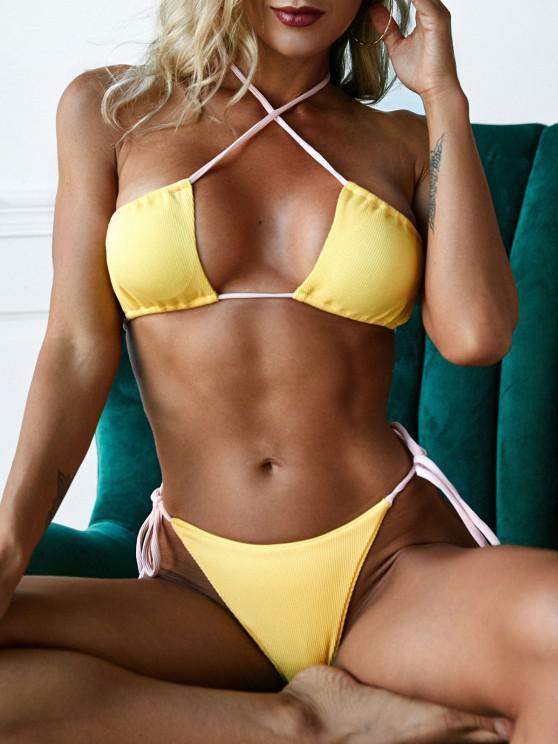 ladies ZAFUL Ribbed Multi-way Tie Cutout Cross Bikini Swimwear - YELLOW M