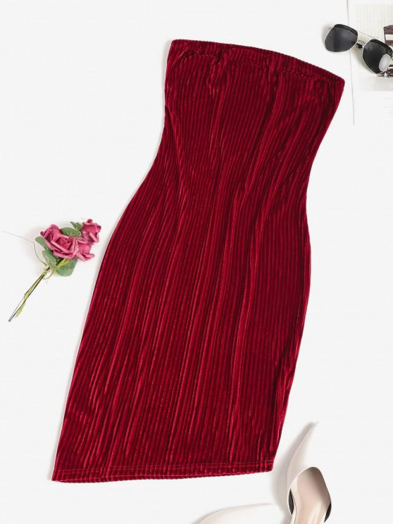 chic Bandeau Velvet Bodycon Party Dress - RED S