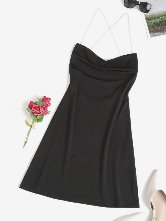latest Diamante Strap Criss Cross Backless Slit Dress - BLACK L
