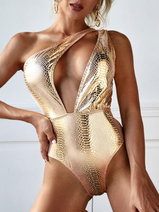 fashion ZAFUL One Shoulder Metallic Snakeskin Disco Cutout One-piece Swimsuit - GOLDEN S