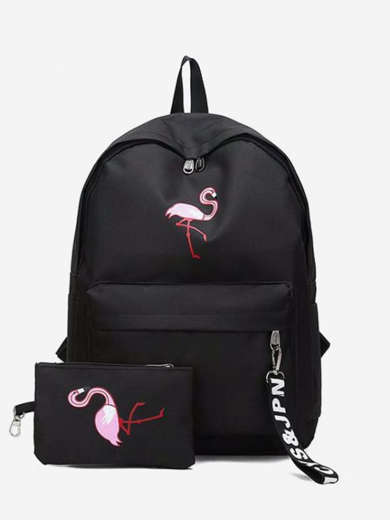 shops 2Pcs Flamingo Print Canvas Pen Bag Backpack Set - BLACK