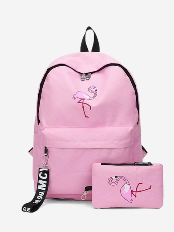 fashion 2Pcs Flamingo Print Canvas Pen Bag Backpack Set - PIG PINK