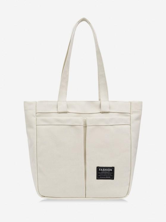 women Letter Label Canvas Tote Bag - MILK WHITE