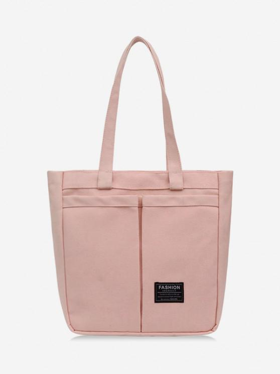 women's Letter Label Canvas Tote Bag - PIG PINK
