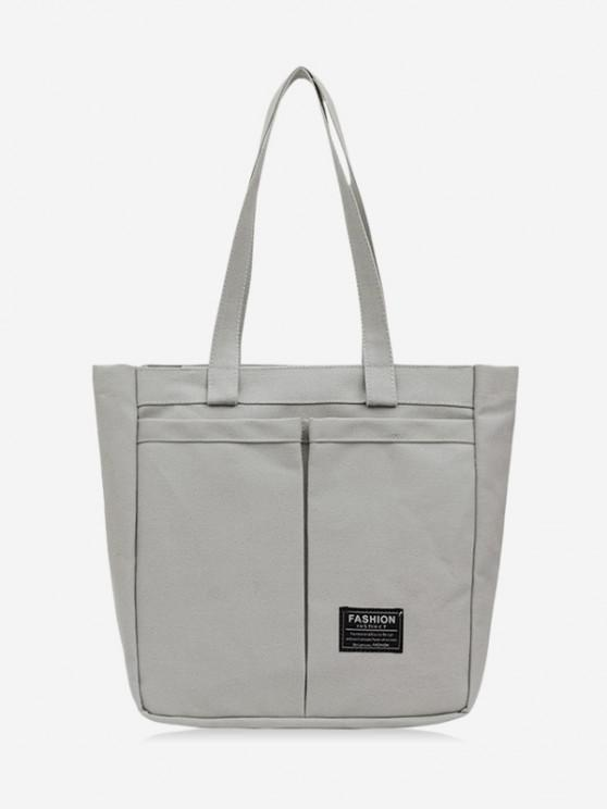 ladies Letter Label Canvas Tote Bag - BATTLESHIP GRAY
