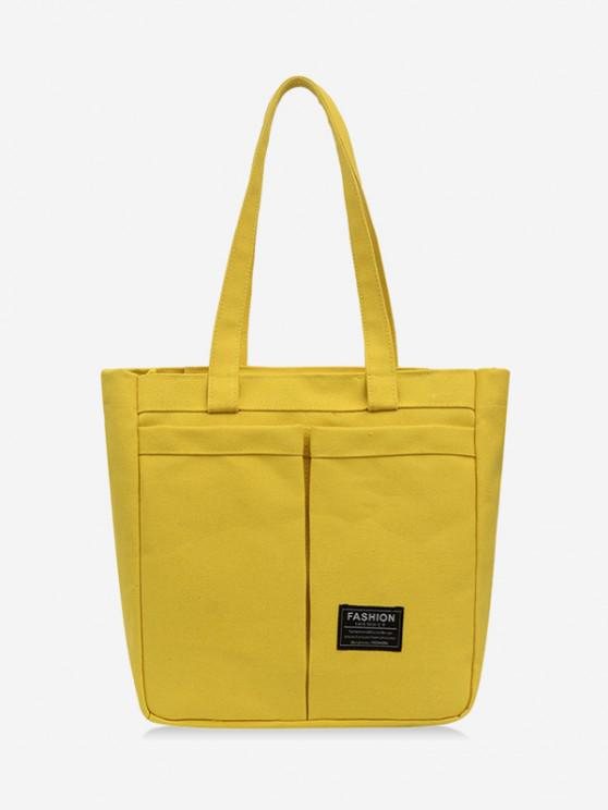 lady Letter Label Canvas Tote Bag - SUN YELLOW