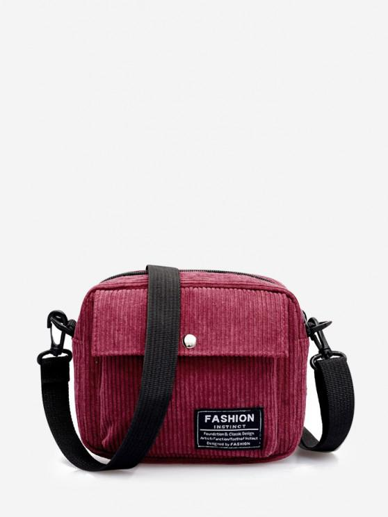 chic Letter Label Corduroy Crossbody Bag - RED WINE