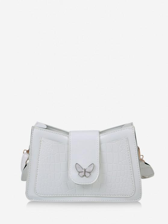 affordable Wrinkle Butterfly Textured Solid Crossbody Bag - MILK WHITE