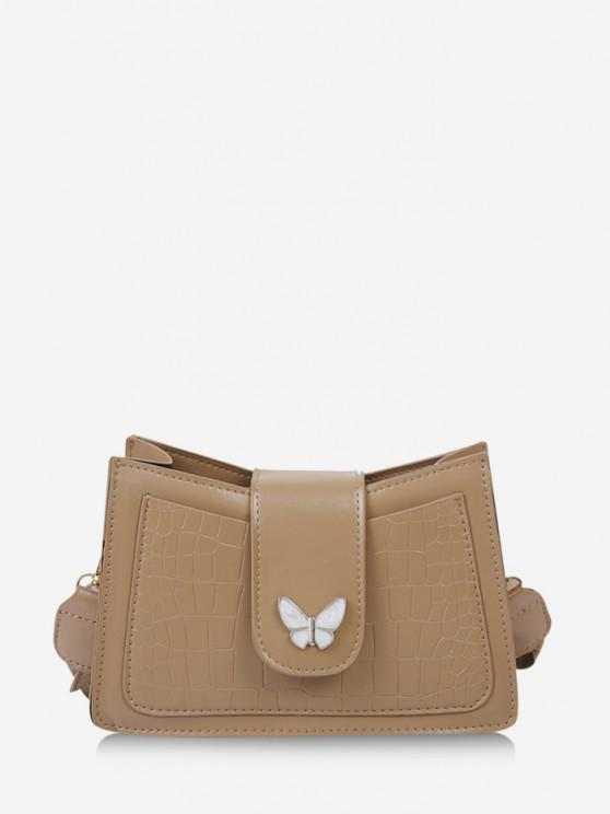 womens Wrinkle Butterfly Textured Solid Crossbody Bag - LIGHT KHAKI