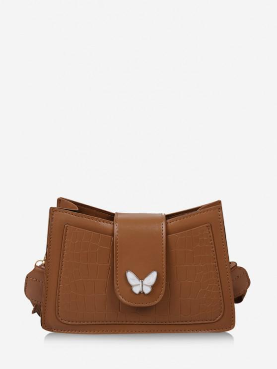 women Wrinkle Butterfly Textured Solid Crossbody Bag - LIGHT BROWN