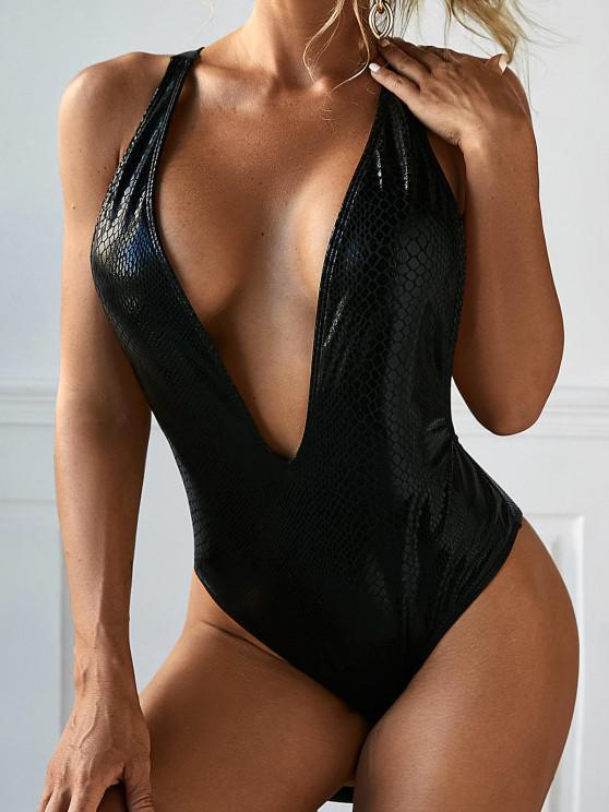 hot ZAFUL Metallic Snakeskin Plunging Backless One-piece Swimsuit - BLACK M
