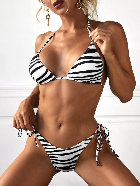 hot ZAFUL Ribbed Zebra Print String High Cut Bikini Swimwear - BLACK L