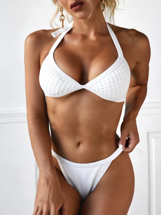 affordable ZAFUL Halter Fishnet Insert Tanga Bikini Swimwear - WHITE S