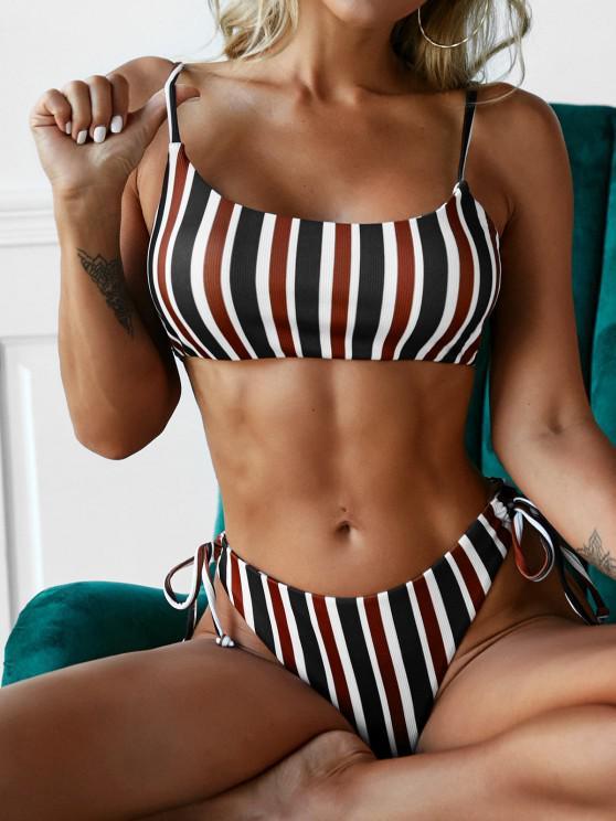 sale ZAFUL Striped Ribbed High Leg Bikini Swimwear - MULTI M