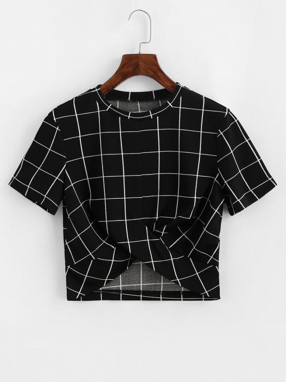 outfits ZAFUL Cropped Grid Plaid Twist Tee - BLACK M