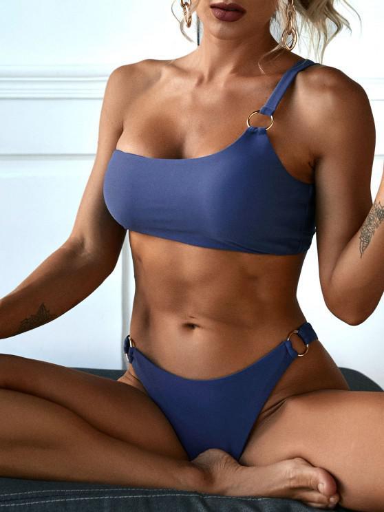lady ZAFUL One Shoulder Metal Ring Bikini Swimwear - DEEP BLUE M