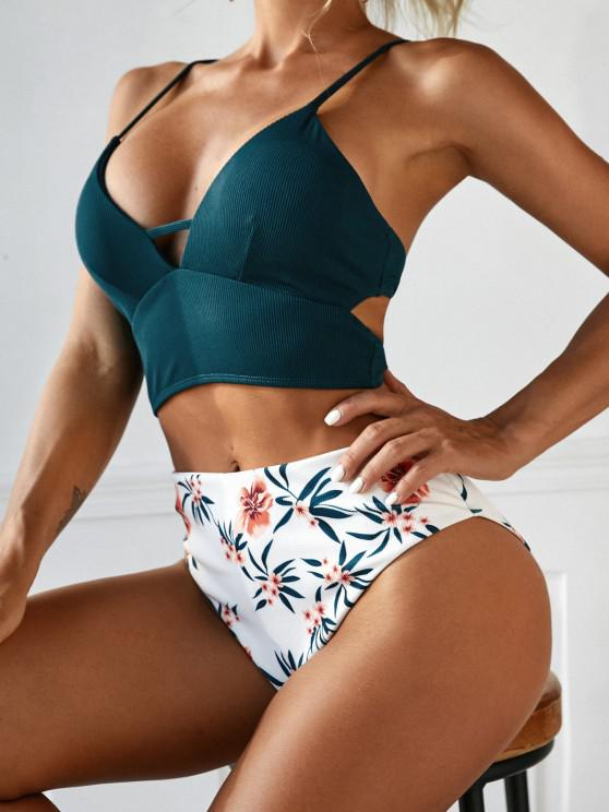 women ZAFUL Ribbed Flower High Cut Lace-up Tankini Swimwear - DEEP GREEN S