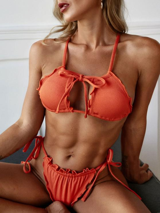 lady ZAFUL Lettuce Trim Ribbed Ties Crisscross Bikini Swimwear - ORANGE S