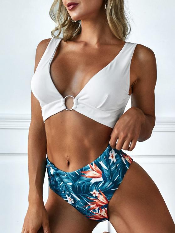 women ZAFUL Ribbed Plunge Flower Leaf Ring Tankini Swimwear - DEEP BLUE S