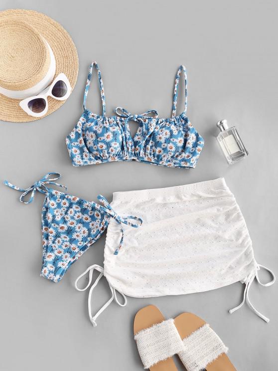 ZAFUL Daisy Tie Side Cinched Three Piece Bikini Swimwear Set - أزرق فاتح M