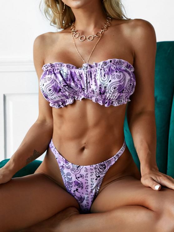 outfits ZAFUL Ribbed Paisley Tie Dye Ruffle Bandeau Tanga Bikini Swimwear - PURPLE S