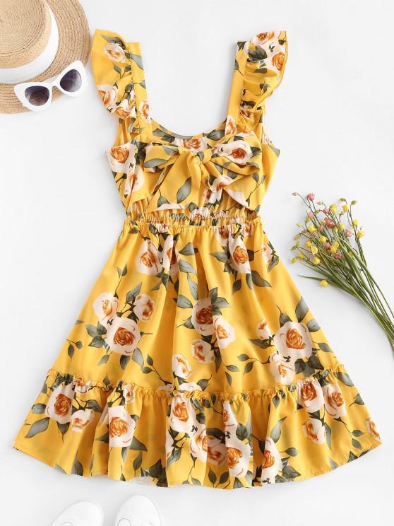 sale ZAFUL Floral Ruffle Back Knot Sundress - YELLOW M
