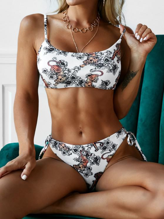 ZAFUL Tiger Flower Oriental Ribbed High Leg Bikini Swimwear - أبيض S