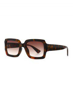 Retro Gradient Rectangle Sunglasses - Leopard