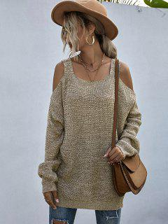 Heathered Cold Shoulder Oversize Sweater - Light Coffee S
