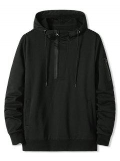Zipper Pocket Half Zip Hoodie - Black Xxl