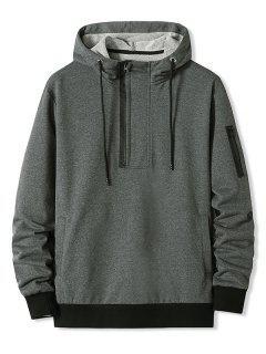 Zipper Pocket Half Zip Hoodie - Dark Gray L