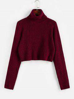 ZAFUL Turtleneck Plain Crop Sweater - Red Wine Xl