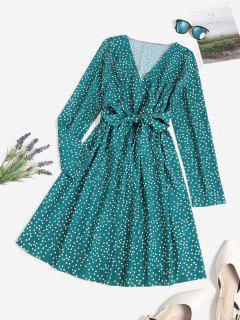 Polka Dot Surplice A Line Tie Waist Dress - Deep Green L