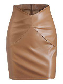V-waist Faux Leather Mini Skirt - Coffee S