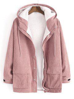 Faux Fur Raglan Sleeve Hooded Corduroy Jacket - Khaki Rose S