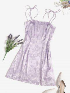 Jacquard Satin Tie Shoulder Slit Cami Dress - Light Purple S