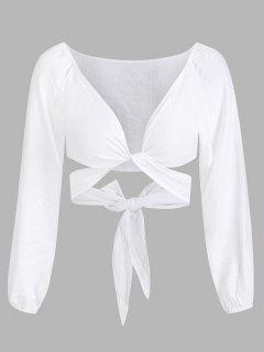 Cropped Twist Tie-around Blouse - White M