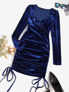 Cinched Velvet Surplice Party Dress - Deep Blue M