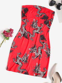 Dragon Print Oriental Mini Tube Dress - Red S