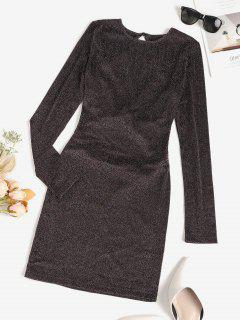 Metallic Thread Criss Cross Open Back Bodycon Dress - Deep Coffee S