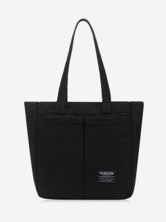 Letter Label Canvas Tote Bag - Black