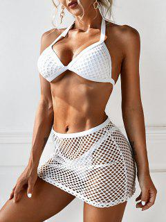 ZAFUL Fishnet Insert Halter Three Piece Tanga Bikini Swimwear - White M
