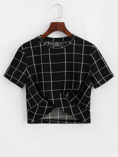 ZAFUL Cropped Grid Plaid Twist Tee - Black S