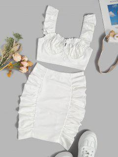 Ruched Tie Ruffle Two Piece Skirt Set - White L