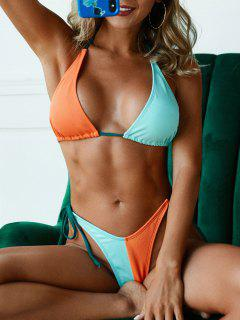 ZAFUL Halter Tie Side Colorblock Bikini Swimwear - Multi M