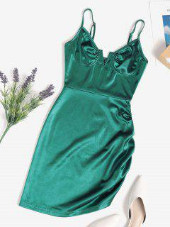 V Wired Cupped Ruched Bodycon Mini Dress - Deep Green S