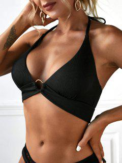ZAFUL Ribbed Halter Tie Ring Bikini Top - Black S