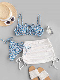 ZAFUL Daisy Tie Side Cinched Three Piece Bikini Swimwear Set - Light Blue M